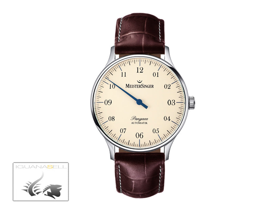 Meistersinger Pangaea Automatic Watch, 40mm. ETA 2892-A2, Brown Leather, PM903