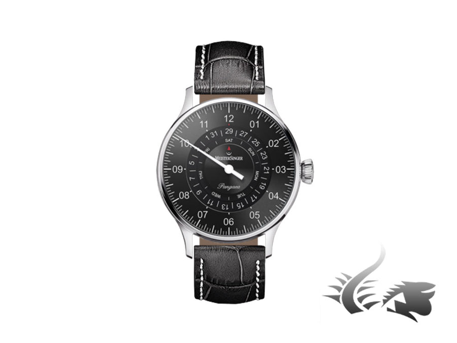 Meistersinger Pangaea Day Date Automatic Watch, ETA 2836-2, Anthracite, Leather