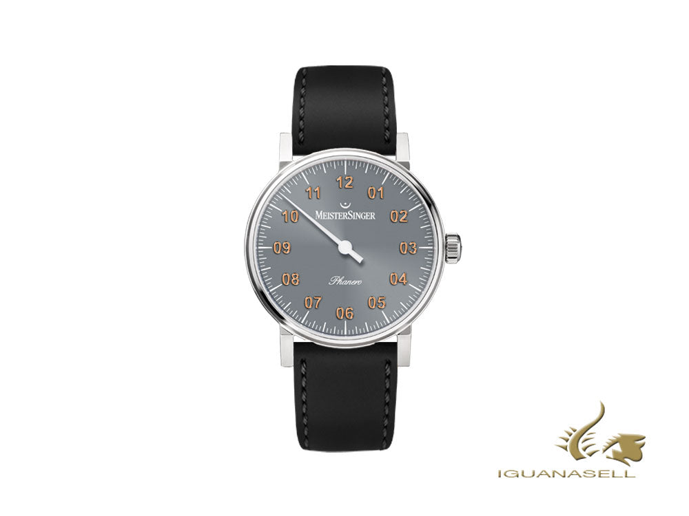 Meistersinger Phanero Watch, Manual winding, Grey, Black, 35mm, PH307G-SCF01