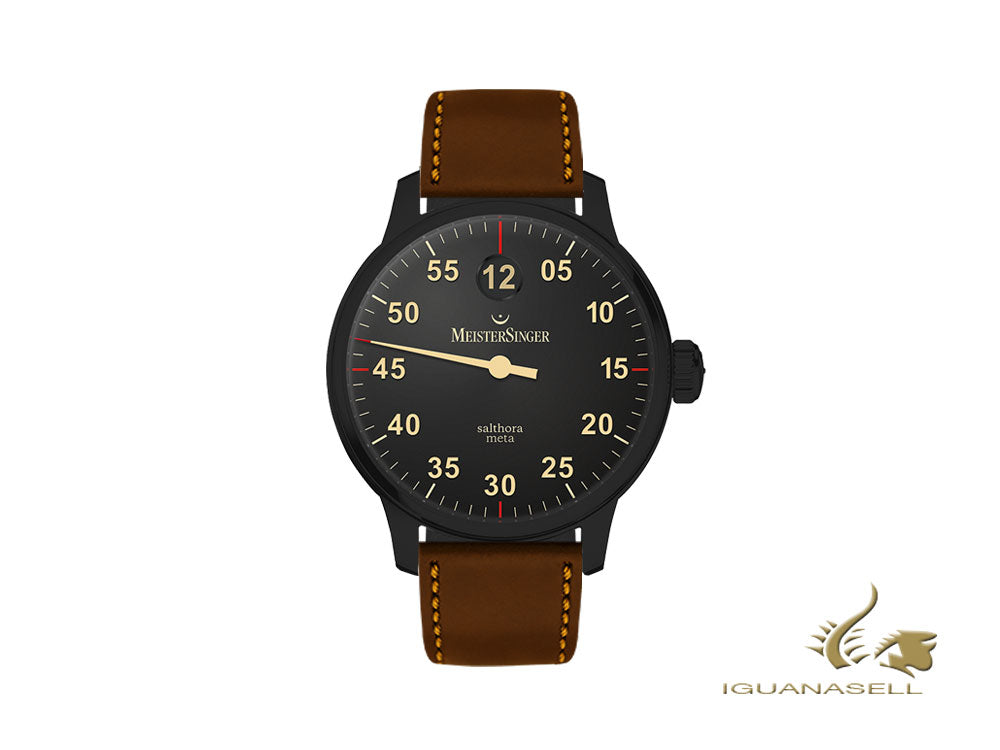 Meistersinger Salthora Meta Black Line Automatic Watch, 43 mm SAM902BL-SCF02