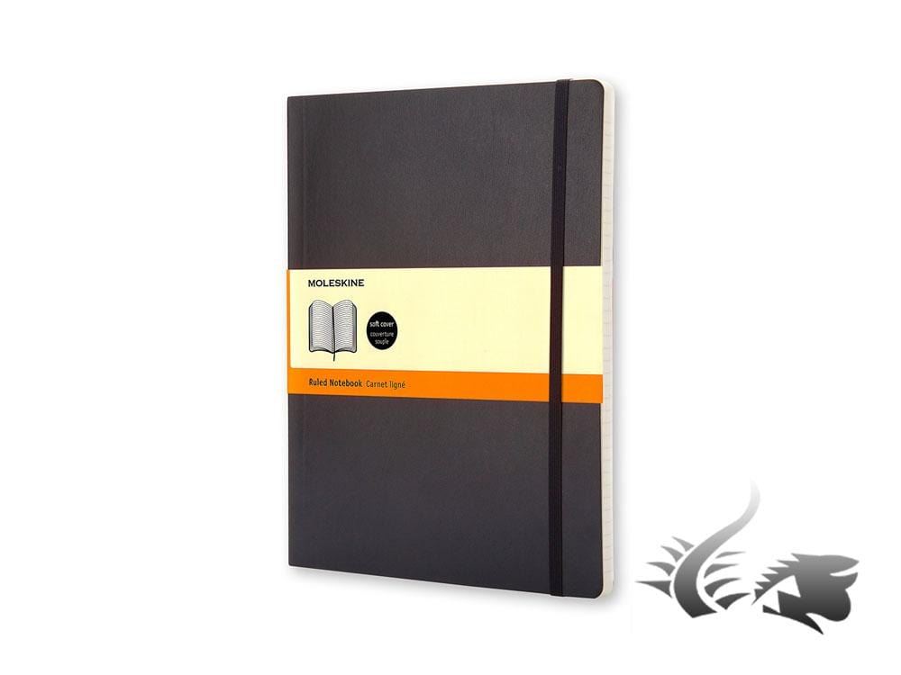 Moleskine Classic Soft cover Notebook, X-Large, Ruled, Black, 192 pages, QP621 Notebook