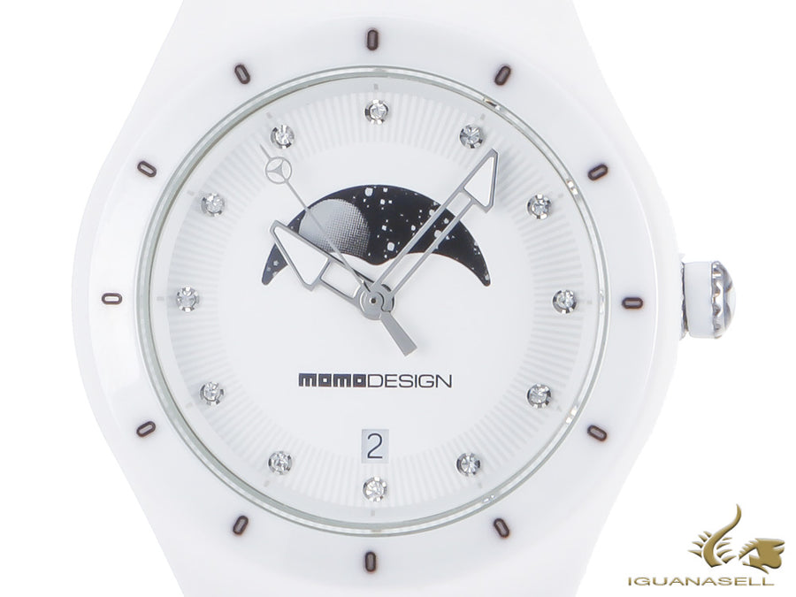 Momo Design Mirage Lady Quartz Watch, 38 mm, Ceramic, Silicon, MD3006FL-WT-21
