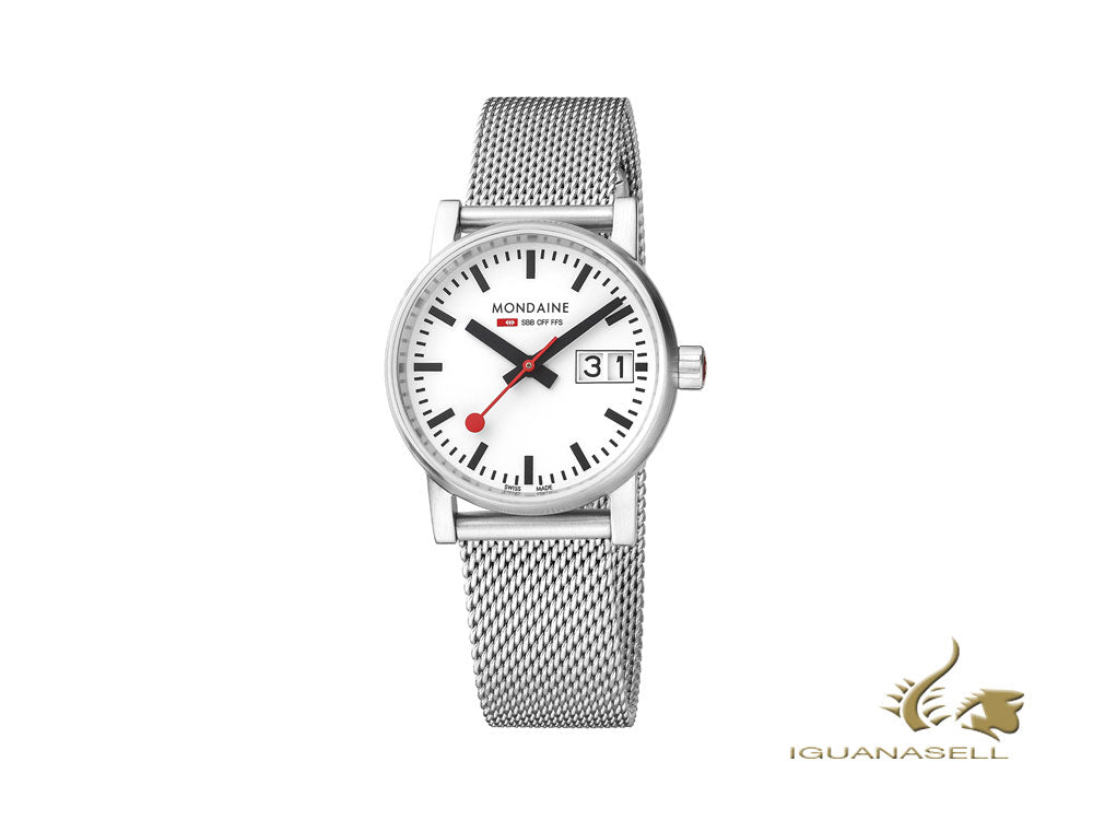 Mondaine SBB Evo2 Quartz Watch, White, 30mm, Day, MSE.30210.SM