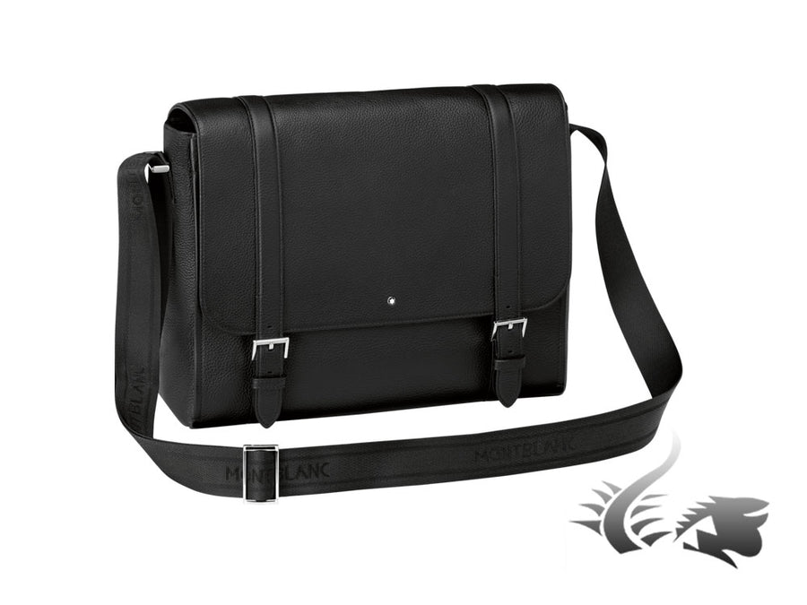 Montblanc Meisterstück Soft Grain Messenger, Leather, Cotton, Black, Flap-over