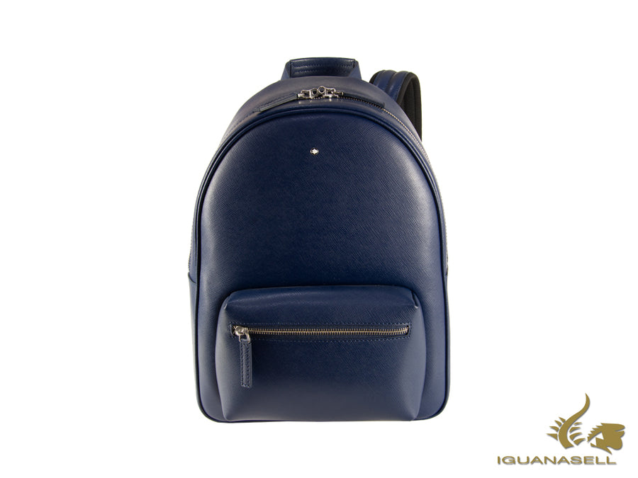 Montblanc Sartorial Backpack, Leather, Jacquard, Blue, Zip, 116752