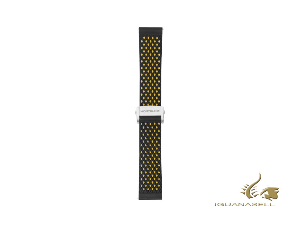 Montblanc Summit 2 Rubber Sport Strap, Black and Yellow, 22mm, 119709