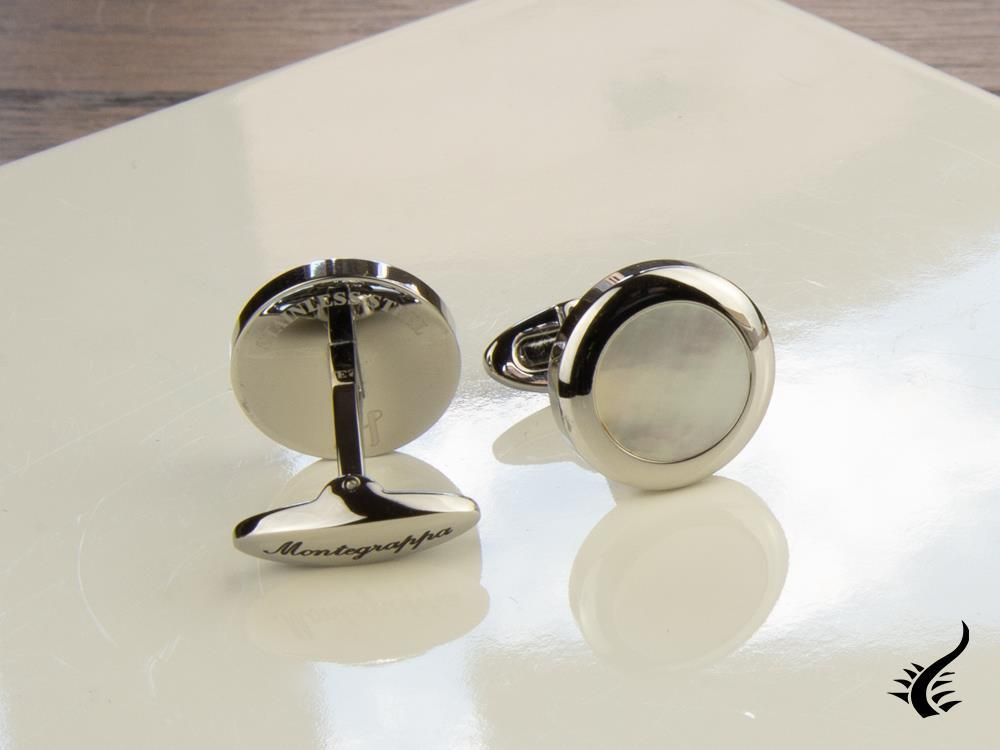 Montegrappa Classico Cufflinks, Stainless steel, White mother of pearl, IDCCCLSW