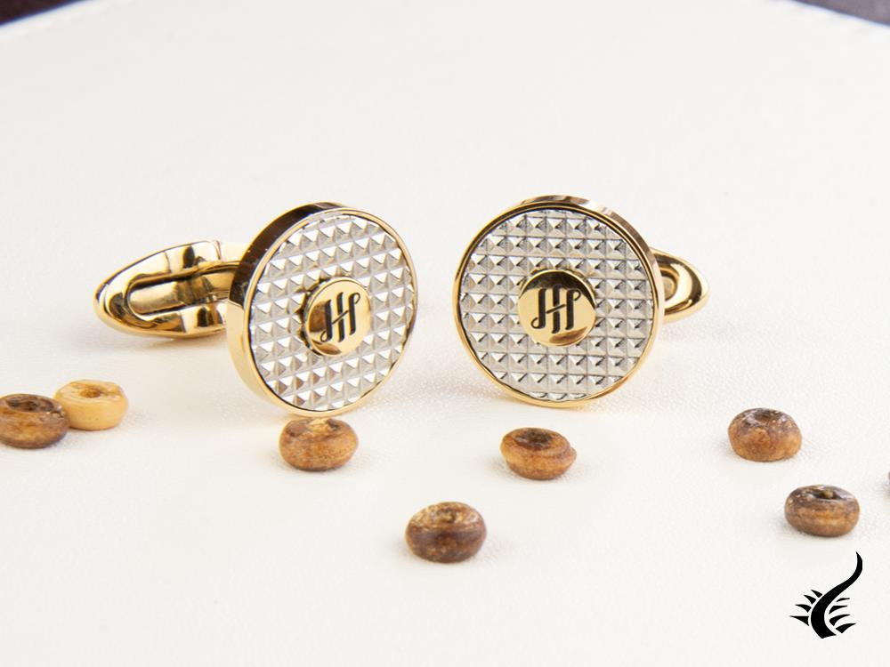 Montegrappa Clou Ambigram Cufflinks, Stainless steel, IP Yellow Gold, IDA3CLYS
