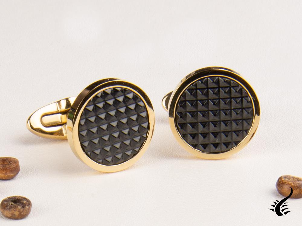Montegrappa Clou Cufflinks, Stainless steel, IP Yellow Gold & IP Black, IDCPCLYB