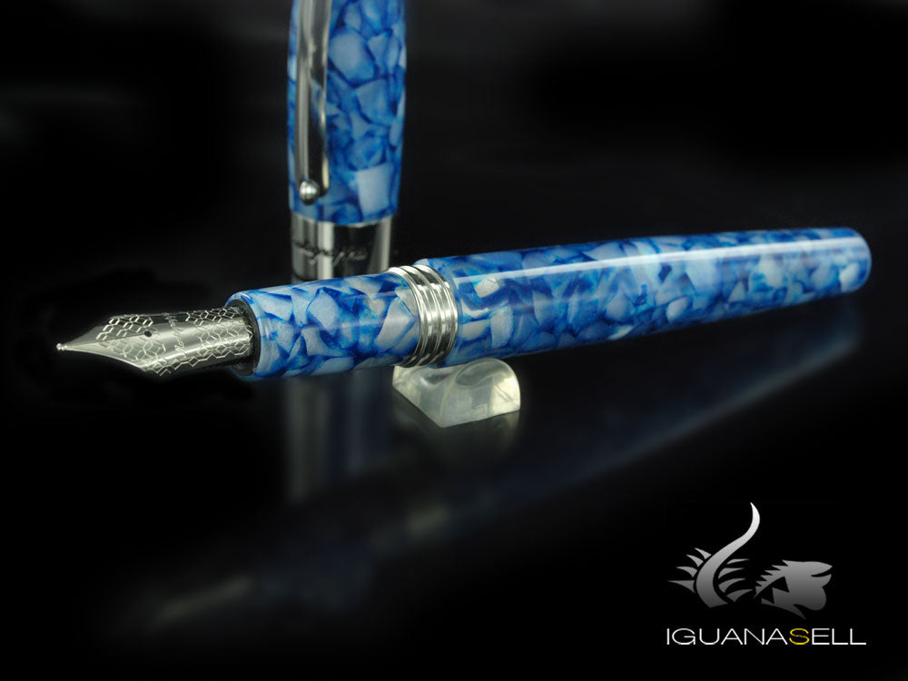 Montegrappa Fortuna Marrakech Fountain Pen, Blue Resin, Palladium trim