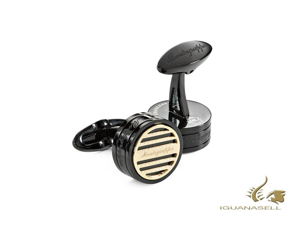 Montegrappa Grid Cufflinks, Stainless steel, IP Black and Yellow Gold, IDGRCLCY Cufflinks