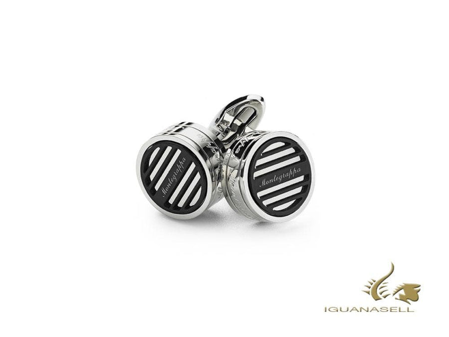 Montegrappa Grid Cufflinks, Stainless steel, Ion Plating Black, IDGRCLIC