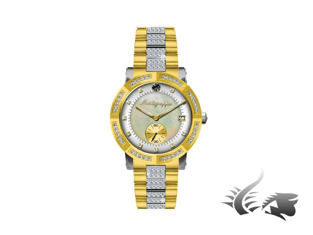 Montegrappa Nero Uno Ladies Quartz watch, Gold PVD, Mother of Pearl, IDLNWA81-Y