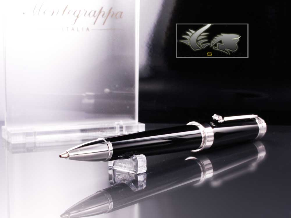 Montegrappa Parola Ballpoint pen, Black Resin, Chrome trim, ISWOTBAB