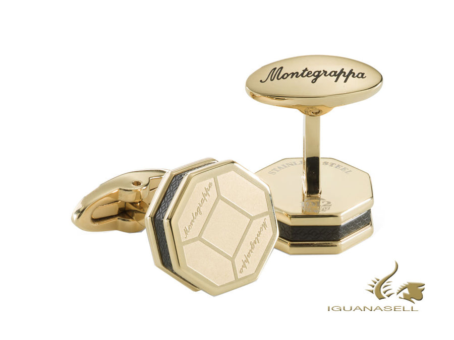 Montegrappa Tripudio Cufflinks, Stainless steel, IP, Gold, IDTPCLYC