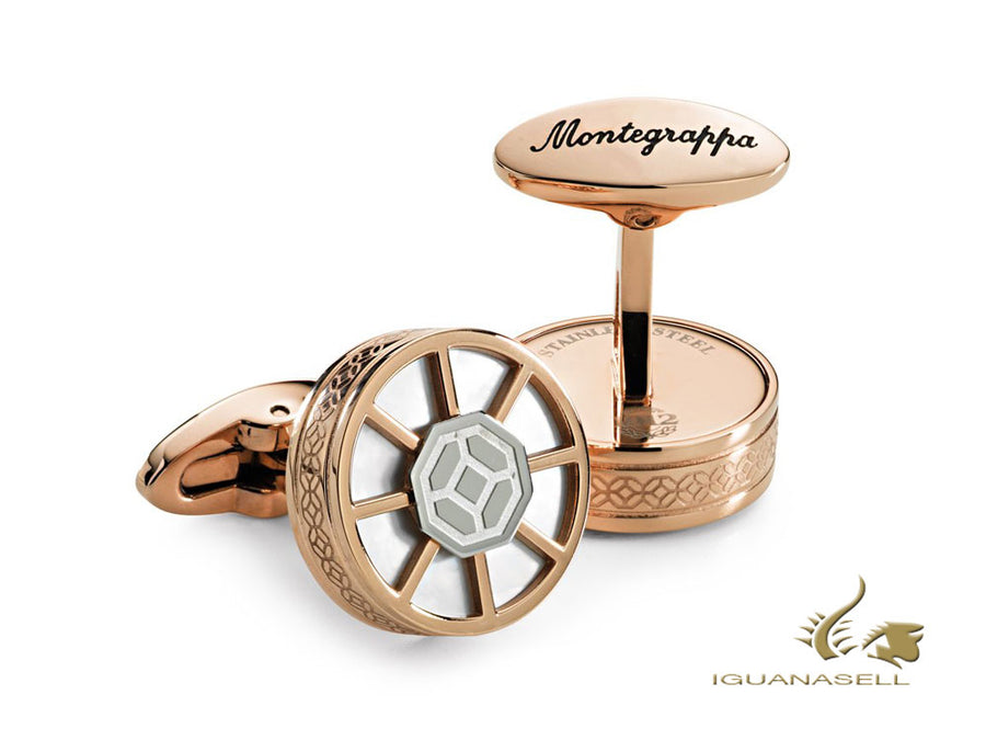 Montegrappa Wheel Cufflinks, Stainless steel, Rose Gold, IDWHCLRI