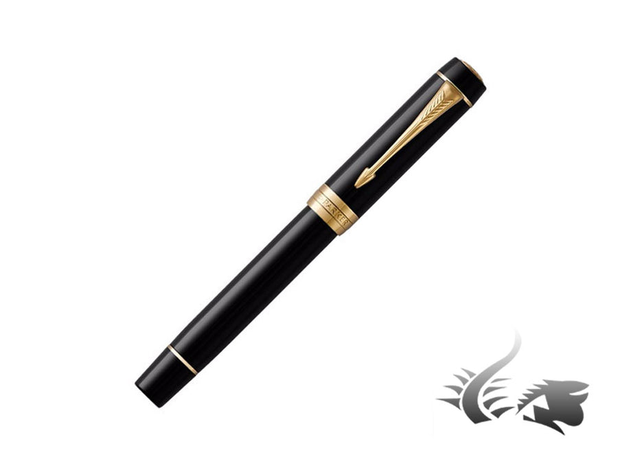 Parker Duofold International Fountain Pen, Gold Trim, Black, 1931384