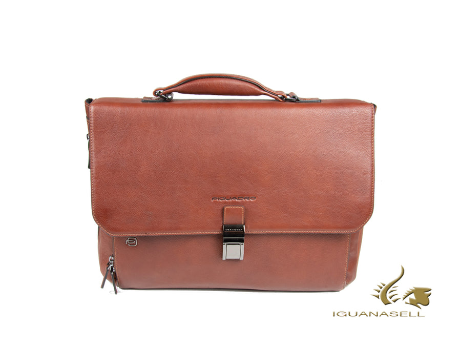 Piquadro Black Square Briefcase, Leather, Brown, Flap tuck, Laptop compartment