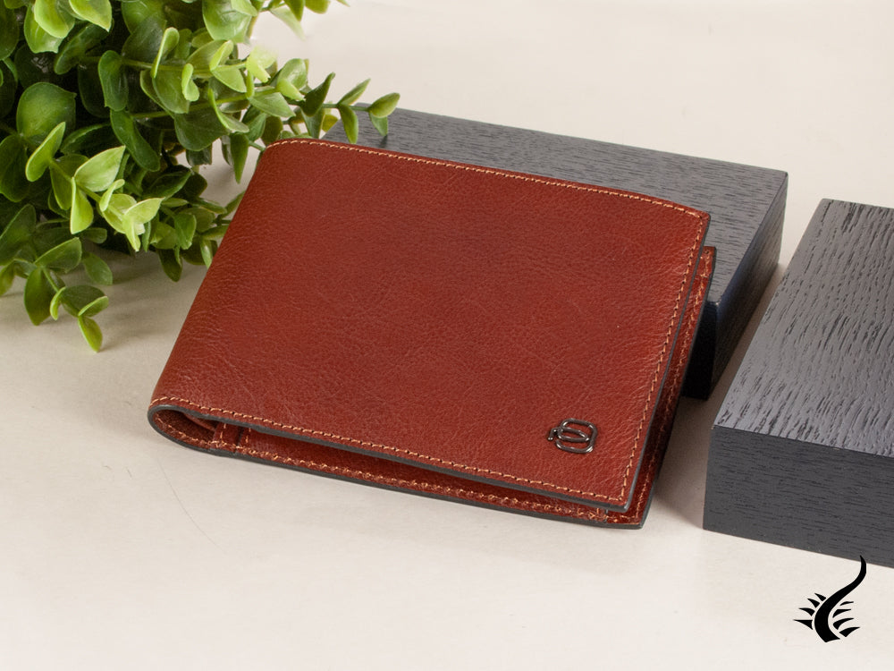 Piquadro Black Square Wallet, Leather, Brown, 4 Cards, Coin case, RFID Protected