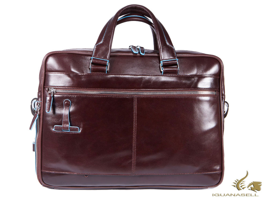 Piquadro Blue Square Document case, Leather, Brown, Zip, CA2849B2/MO