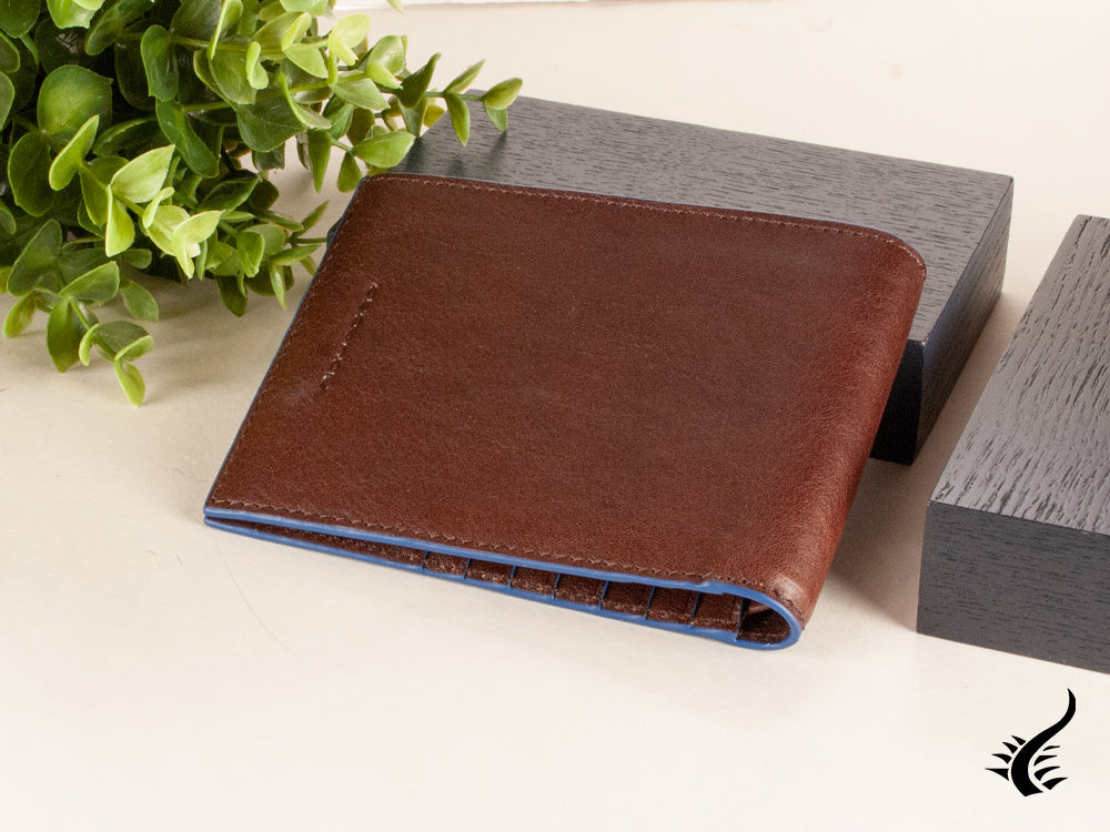 Piquadro Blue Square Wallet, Leather, Brown, 12 Cards, PU1241B2SR/TM