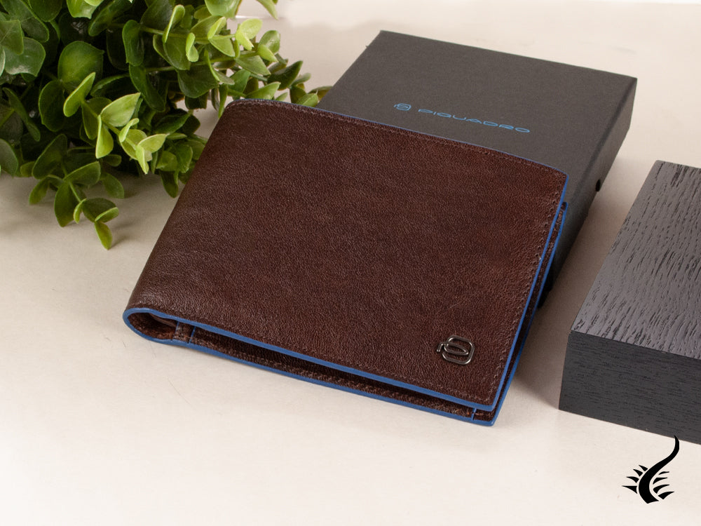 Piquadro Blue Square Wallet, Leather, Brown, 4 Cards, PU257B2SR/TM