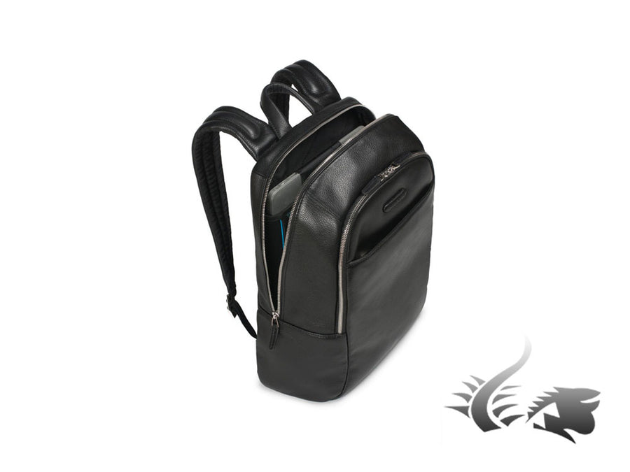 Piquadro Modus Backpack, Leather, Black, 2 Dividers, Laptop compartment