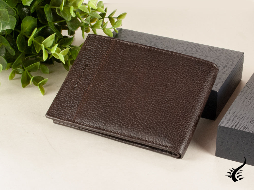 Piquadro Pulse Plus Wallet, Leather, Brown, 4 Cards, Coin case, PU257P15S/TM