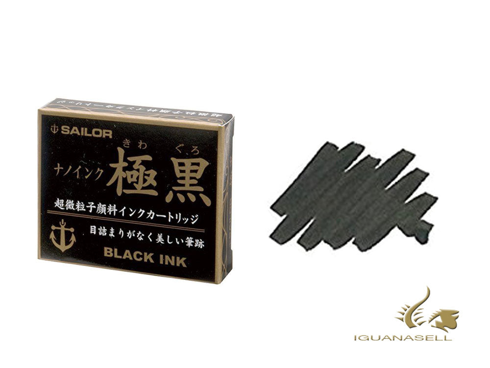 "Sailor ""Kiwa-Guro"" Pigment Ink cartridges, Black, 13-0602-120"