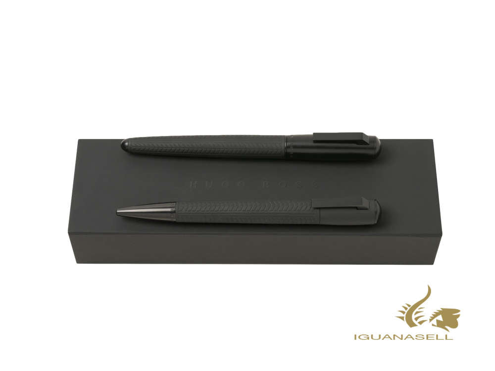 Set Hugo Boss Pure Tire Fountain Pen, Ballpoint, Brass, Black, HPBP943