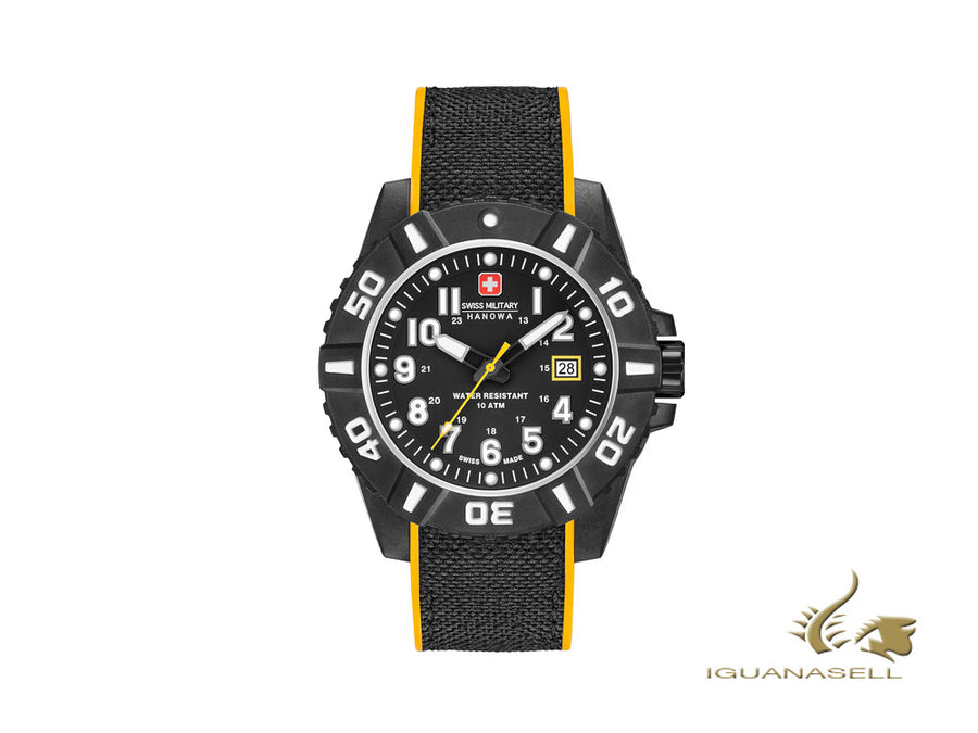 Swiss Military Hanowa Challenge Black Carbon Quartz Watch, Carbon, Day, Yellow