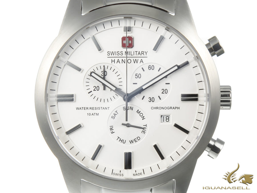 Swiss Military Hanowa Chrono Classic Quartz Watch, Silver, 10 atm, Day/Date