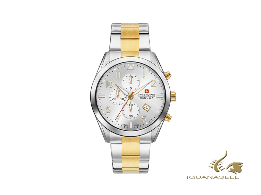 Swiss Military Hanowa Classic Helvetus Chrono Quartz Watch, PVD Gold, White