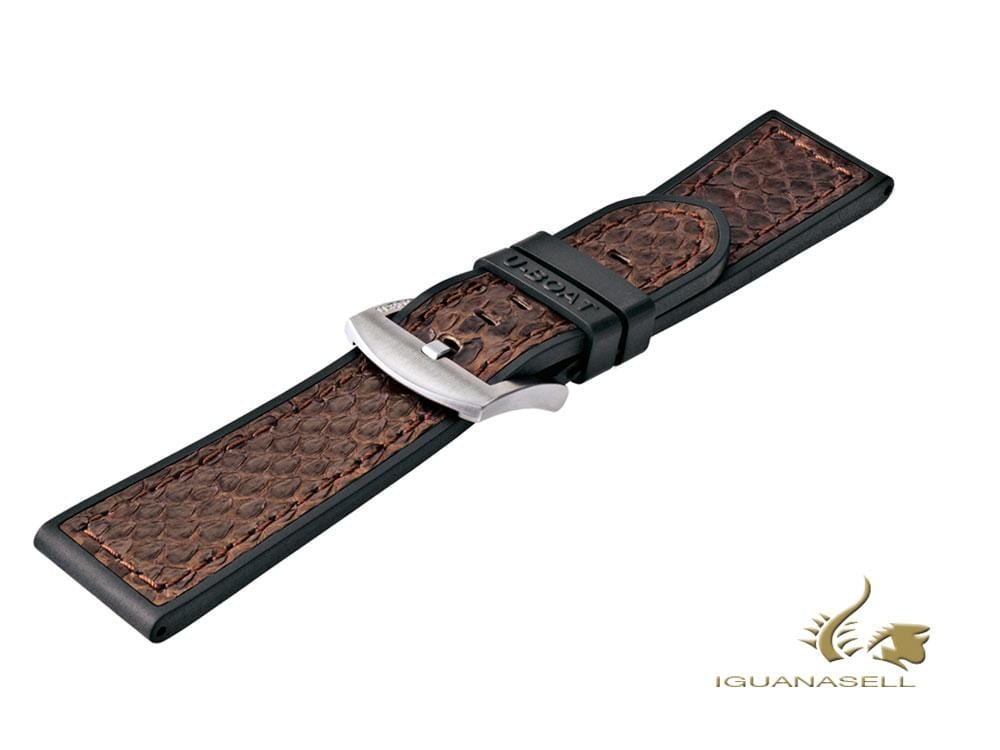U-Boat Accesorios Strap, Python Leather, Rubber, Brown, 23 mm., 5517 Strap