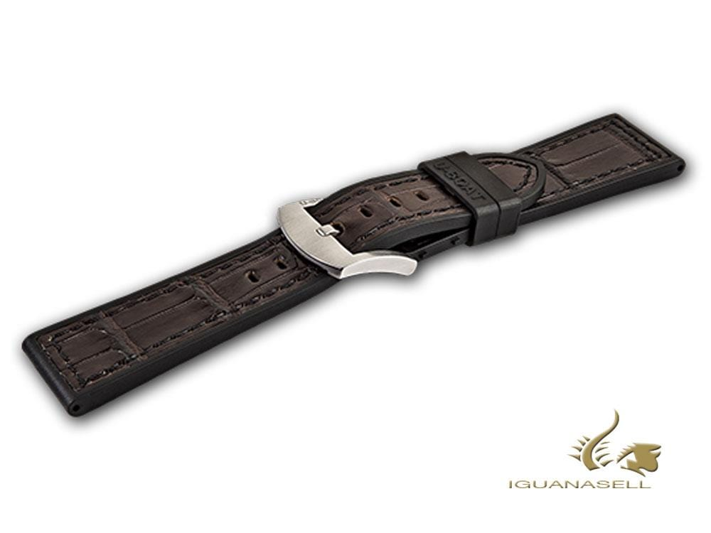 U-Boat Accesorios Strap, Rubber, Alligator, Brown, 23 mm., Stainless Steel, 2086 Strap