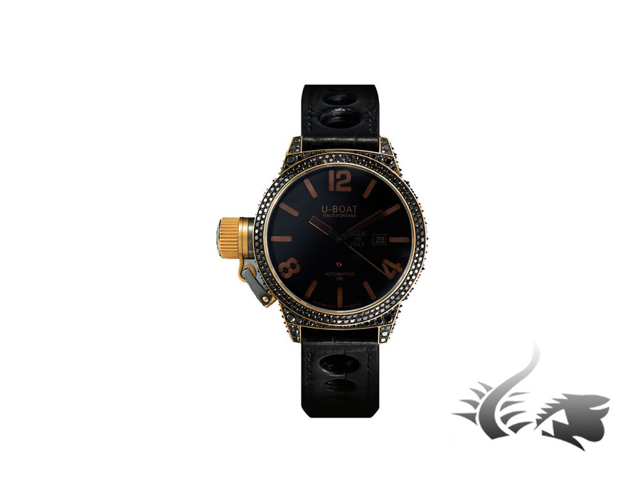 U-Boat Black Swan Automatic Watch, 18K Gold, Diamonds, Alligator Band, 8000
