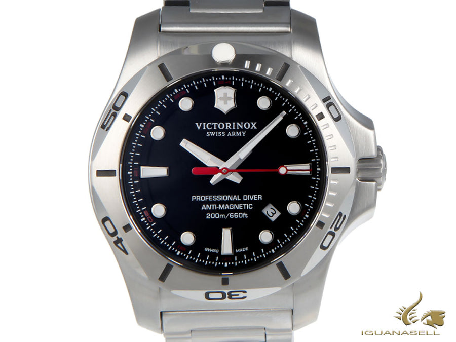 Victorinox I.N.O.X. Quartz Watch, Stainless Steel 316L, Black, 45 mm, V241781