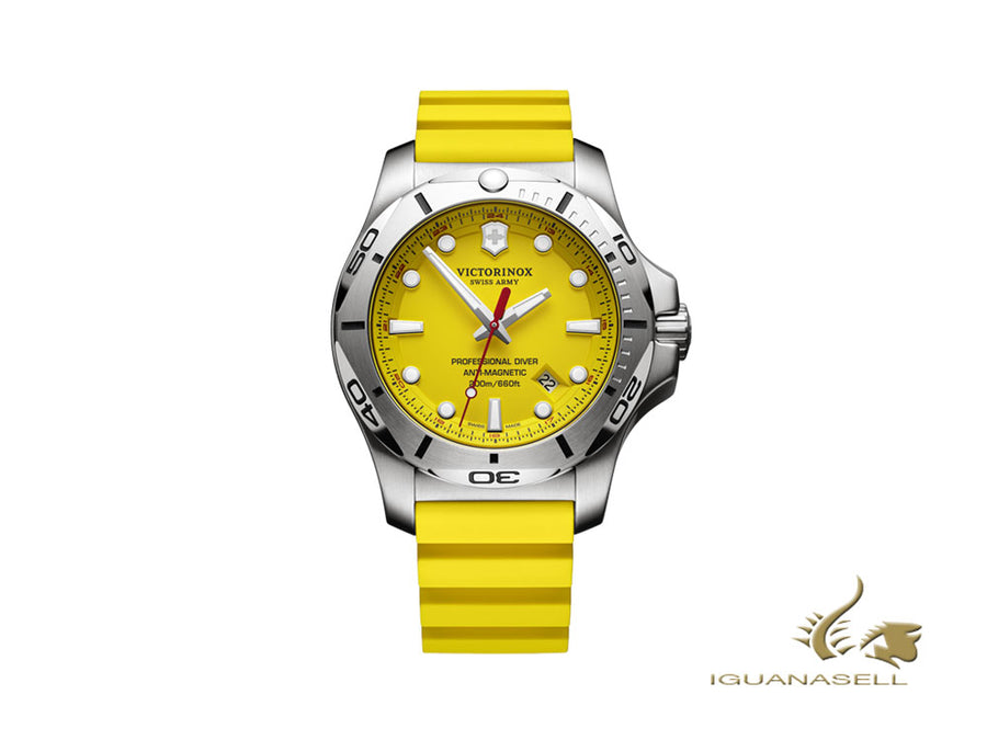 Victorinox I.N.O.X. Quartz Watch, Yellow, 45 mm, Rubber strap, Superluminova