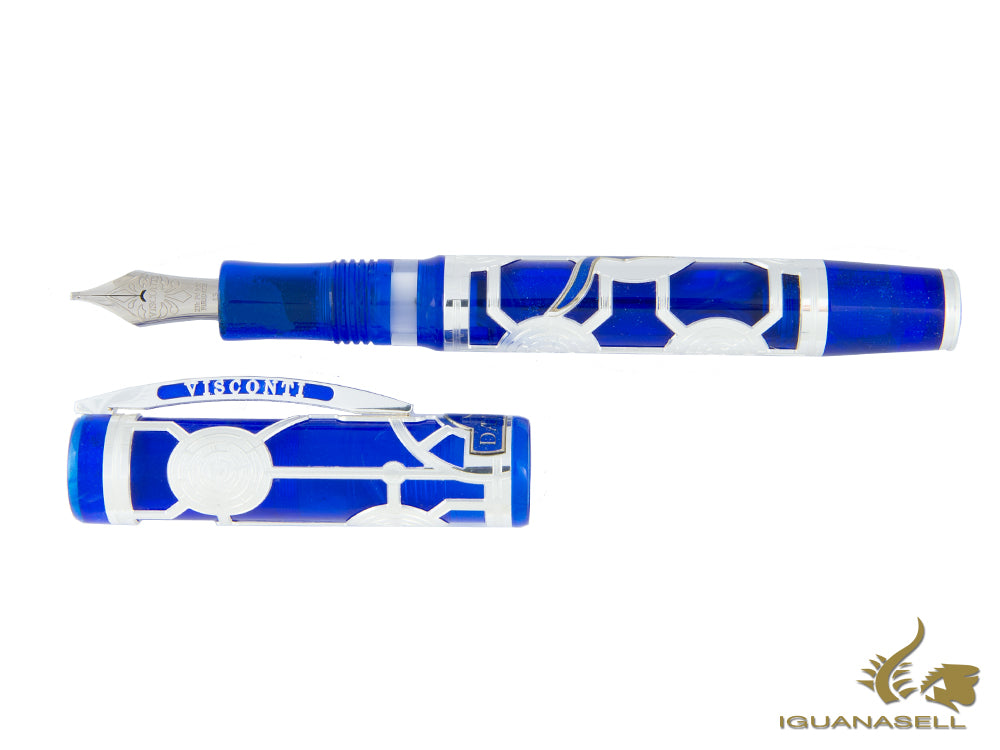 Visconti Daedalus Fountain Pen, Silver, Limited Edition, Blue, Oversize