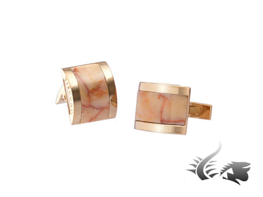 Visconti Marble Empire Honey Cufflinks, Stainless steel, Marble, Gold, 980C000