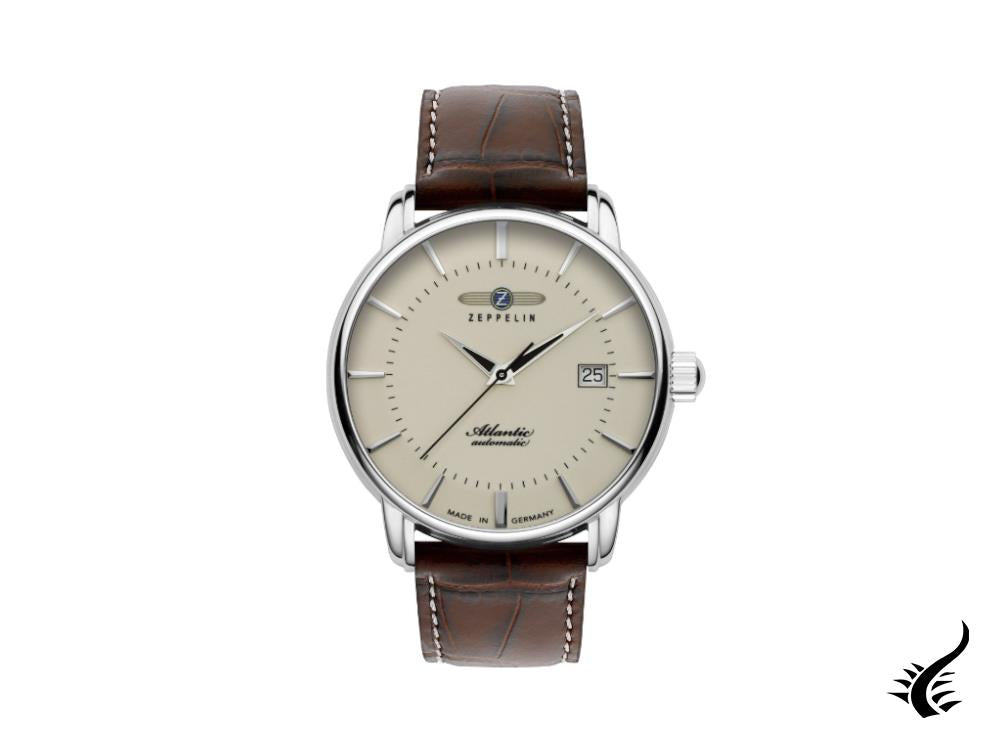 Zeppelin Atlantic Automatic Watch, Beige, 41 mm, Day, Leather strap, 8452-5