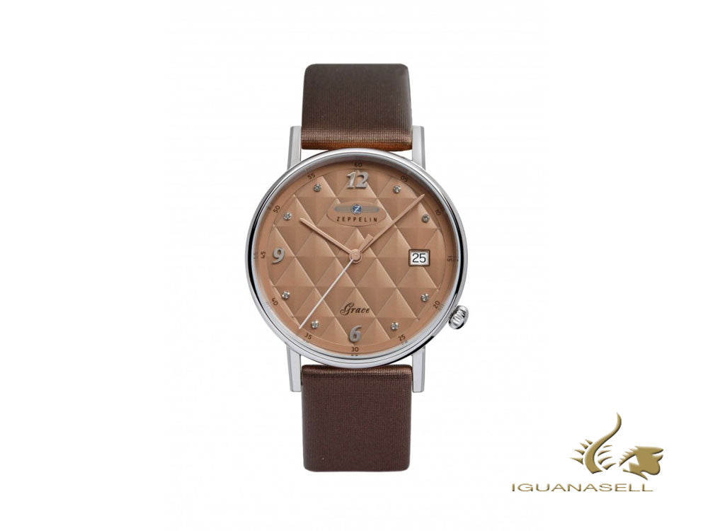 Zeppelin Grace Lady Quartz Watch, Brown, 36 mm, 7441-5