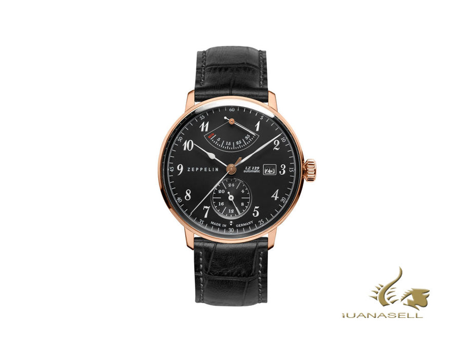 Zeppelin LZ 129 Hindenburg Automatic Watch, Rose Gold, Black, 40 mm, 7064-2
