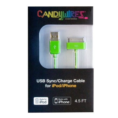 CandyWirez Extra Long Apple iPod iPhone iPad USB Cable 4.5ft 1.4m Green