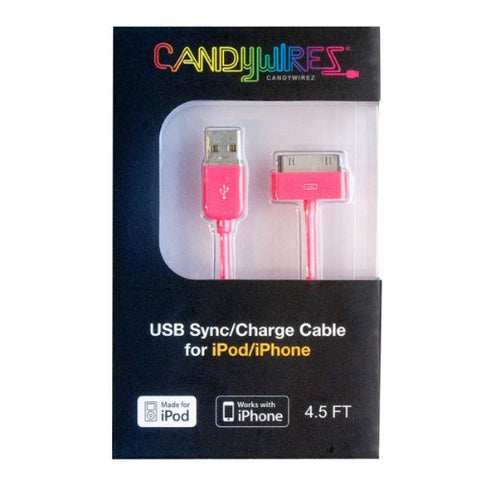 CandyWirez Extra Long Apple iPod iPhone iPad USB Cable 4.5ft 1.4m Pink