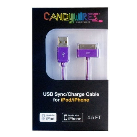 CandyWirez Extra Long Apple iPod iPhone iPad USB Cable 4.5ft 1.4m Purple
