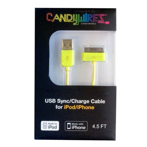 CandyWirez Extra Long Apple iPod iPhone iPad USB Cable 4.5ft 1.4m Yellow