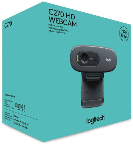 Logitech C270 HD Webcam, HD 720p/30fps, Widescreen HD Video Calling