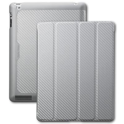 Cooler Master Wake Up Folio Carbon Texture Edition with Magnetic Stylus for iPad 2/ 3/ 4 Silver White