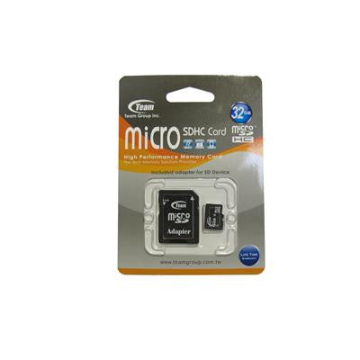Team 32GB Micro SDHC Class 4 SD Flash Card With Adaptor